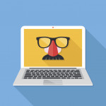 Internet privacy, online conspiracy, private browsing, vpn, proxy server, incognito mode, anonymous web browsing concepts. Disguise mask on laptop screen. Long shadow design. Creative flat design vector illustration