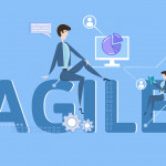 AGILE. Concept table with keywords, letters and icons. Colored flat vector illustration on blue background.