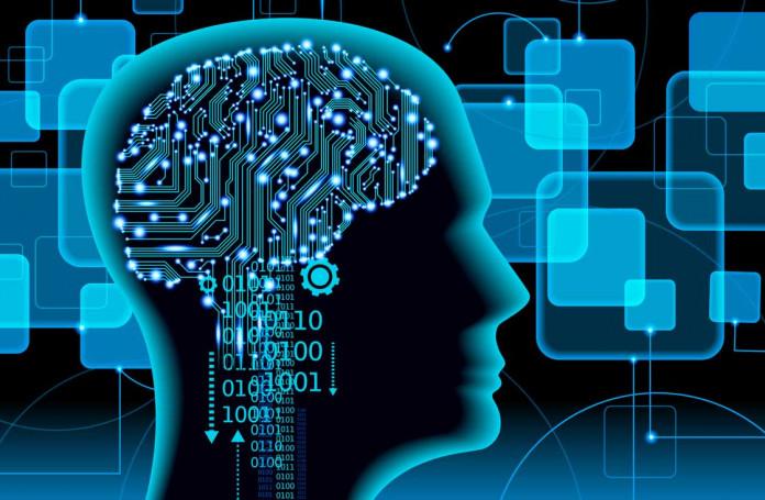 digital brain in human head