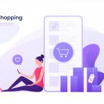Online shopping, mobile marketing concept. Vector illustration.